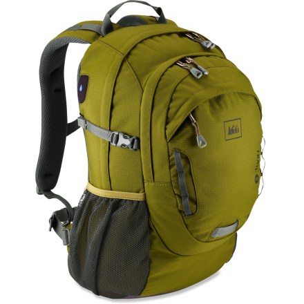 Camp and Hike The REI Trail pack transitions smoothly from the trail to the urban world. It's designed for comfort, effective organization and easy access to your gear. Removable hipbelt and sternum strap let you customize the pack to your needs. Padded back panel features additional contact-point padding at scapula and lumbar region. Foam-padded, curved shoulder straps feature soft edges and a sternum strap for comfort. Panel-loading main compartment holds your essentials and includes a sleeve for a hydration reservoir (sold separately). Front pocket features a key-keeper clip and an organizer for compass, lip balm, wallet, sunglasses and other small essentials. Side mesh pockets create convenient storage and on-the-go access to water bottle, sunscreen, snacks or small electronics. Side compression straps let you cinch down loads for jostle-free carrying; clip loop acommodates an LED blinker light. Recycled PET fabric offers durability for years of heavy use. - $39.93