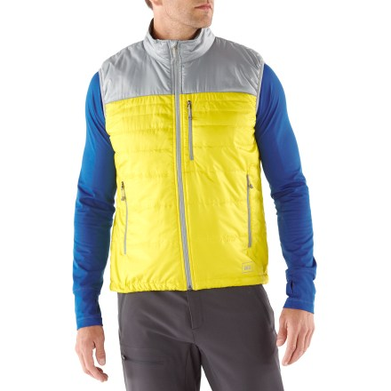 Entertainment The REI Revelcloud men's vest stuffs into your pack and offers lightweight, breathable core warmth for chilly days on the trail. Wear it over a fleece or underneath a shell for just-right protection. - $53.83
