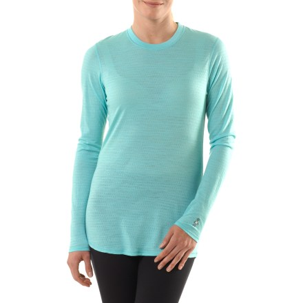 The long-sleeve SmartWool Microweight Crew shirt for women offers the versatility of a lightweight base layer with a low-volume fit you'll love. Fine merino wool helps maintain a comfortable temperature whether the day is hot, cold or in between. Chafe-free flatlock seams enhance comfort. Fabric protects skin from harsh UV light with a UPF rating of 25. Shaped bottom hem enhances fit. Unlike traditional wool, SmartWool items do not itch and can be repeatedly washed and dried without shrinking. The formfitting SmartWool Microweight long-sleeve crew for women offers a minimalist fit. - $36.83
