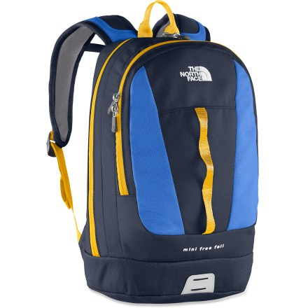Camp and Hike The North Face Mini Free Fall pack is sized just for kids. They'll love using it to carry around their hiking gear or school supplies. Youth-specific shoulder straps feature a sternum strap to help keep the pack close; stitched-foam back panel supplies comfort. Main compartment is generously sized to fit books or trail essentials. Front zippered organizer compartment has 2 pockets-1 is dedicated for protected storage of an electronic gadget. Front features a 3-loop daisy chain for lashing on gear. The North Face Mini Free Fall pack features a reflective light loop patch (clip-on light not included). Closeout. - $41.73