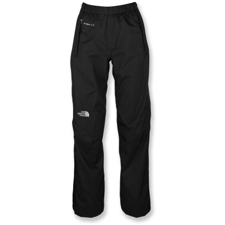 Snowboard Set your mind at ease when you set out with the North Face Venture Side-Zip Rain pants for women; no matter what the weather, you'll stay dry and covered with these waterproof shell pants. Venture rain pants are a great choice for fast-paced activities in wet weather and a staple that every outdoor enthusiast will appreciate. HyVent(R) EC 2.5-layer substitutes natural (bean-derived) castor oil for 50% of the petroleum-based materials previously used in the manufacturing process. HyVent EC maintains excellent waterproof, breathable performance; it's ideal for spring skiing and snowboarding, as well as urban and city hiking. HyVent is lightweight and packable, moves easily over layers and is more breathable than unlined, treated fabrics. All seams are sealed for complete protection. Elastic waist with drawcord adjustment. Full-length side zippers and rip-and-stick waist and cuff tabs. 2 hand pockets; pants stow inside a pocket. The North Face Venture side-zip pants have an easy, regular fit. - $99.00