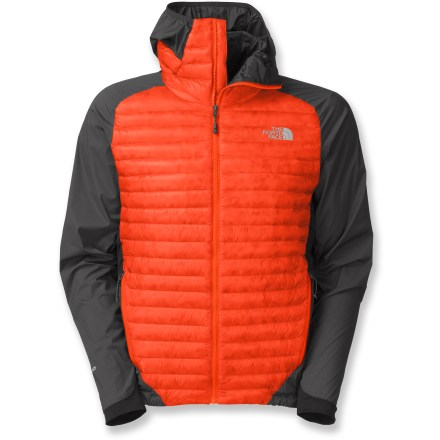 The North Face Verto Micro Down Hoodie jacket for men provides an impressive amount of insulation but easily stows in its own pocket. The body of the hoodie contains 800-fill-power goose down that is extremely warm while remaining highly compressible. Pertex(R) Quantum(R) GL body fabric is incredibly soft, windproof and boasts incredibly high strength-to-weight ratio, completely protecting your core. Interior material features stretch nylon with FlashDry(TM) for superior moisture management so you stay dry and comfortable from the inside out. Close-fitting hood fits snugly and goes easily under helmets; extra insulation makes the difference between being chilled and conquering the cold. 2 zippered front pockets sit high on torso for pack and harness compatibility. The North Face Verto Micro Hoodie packs into its own pocket for easy stowage. The North Face Summit Series(TM) apparel is designed and tested for use in harsh environments. - $123.83