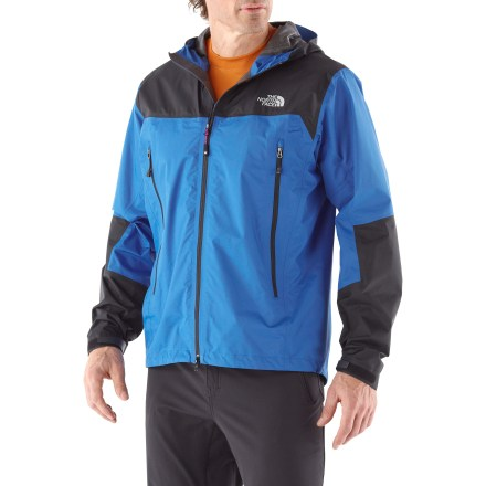 The North Face Meru PacLite men's jacket is highly compressible for easy packing, and designed with Gore-Tex(R) PacLite(R) for lightweight protection from the elements. Minimally featured Meru makes an excellent emergency shell. 2.5-layer Gore-Tex PacLite is engineered to be light, packable and more breathable than other 2- or 3-layer Gore-Tex fabrics. A waterproof membrane is laminated to the shell fabric and then covered by a thin, durable protective oil-resistant coating. Lack of need for a separate lining allows fabric to be light and compact; combines durable wind- and waterproofness with exceptional breathability. Fully adjustable hood features a laminated brim and hidden drawcord locks that allow good visibility in all directions. Smooth reverse coil zippers. Low-profile, adjustable cuff tabs and hidden hem drawcord. Core-venting pockets are strategically placed for accessibility when a pack is worn; they offer ventilation when your body temperature rises. The North Face Meru PacLite jacket is semifitted to enhance performance and minimize bulkiness. - $166.93