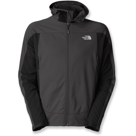 The men's Cipher Hybrid hoodie from The North Face does double duty by keeping harsh weather out while staying breathable so your comfort never flags during even when you're working your hardest. Gore(R) WindStopper(R) eliminates windchill, yet is breathable and dissipates excess moisture quickly so you stay dry and warm;. A Durable Water Repellent finish sheds light moisture moisture. Hood and underarm/side panels are made from Apex Aerobic soft-shell fabric with 4-way stretch; it increases breathability and mobility, and decreases bulkiness. Adjustable hood features an elastic-bound edge. Smooth reverse-coil center front zipper has an internal windflap; brushed chin guard lining is soft next to skin. Drawcord hem and cuffs adjust with nonabrasive, molded rip-and-stick tabs. Alpine zip pockets are easy to access with a pack on. The North Face Cipher Hybrid hoodie features a close-fitting, athletic cut. - $84.83
