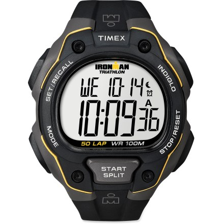 Entertainment The men's Timex Ironman 50-Lap digital watch sports an array of Ironman-ready features and a durable design. Features 50-lap memory recall and 100 hr. chronograph with lap or split option. Countdown timer includes countdown stop and countdown repeat. Also features 3 programmable alarms and on/off hourly chime. INDIGLO(R) backlight illuminates the display for easy use at night. Polyurethane strap offers enhanced flexibility for a comfortable fit. The Ironman 50-Lap digital watch is water resistant to 100m (330 ft.). - $47.93
