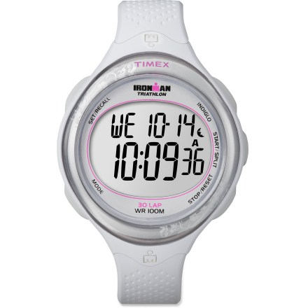 Entertainment The women's Timex Ironman Triathlon Clear View 30-lap watch packs an array of Ironman-ready features into an attractive and easy-to-read design. Features 30-lap memory recall, 100-hour chronograph with lap or split option and 99-lap counter. 24-hour countdown timer includes countdown stop and countdown repeat. Daily, weekly and weekend alarms. INDIGLO(R) night light illuminates the display for easy use at night. Tough resin case is water resistant to 100m (330 ft.). The Timex Ironman Triathlon Clear View 30-lap watch features a durable resin strap that offers flexibility for a seamless fit. - $54.95