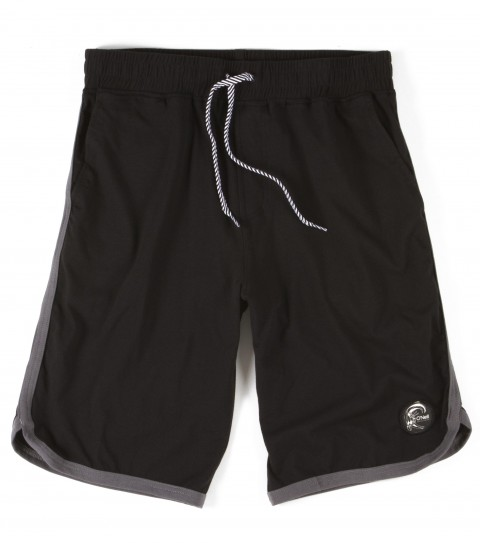 Surf O'Neill Lounge Shorts.  60% Cotton / 40% polyester stretch lounge short.  Standard fit scallop leg. Contrast exterior binding and waistband; interior stash pocket; drawstring front; logo trim and labels - $33.99