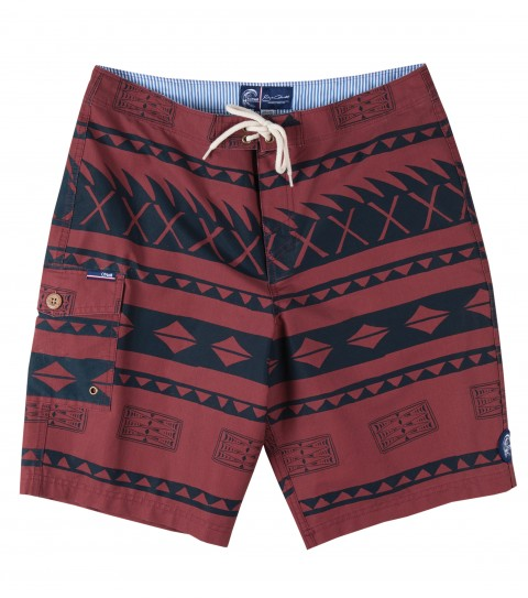 "Surf Jack O'Neill Bukit Boardshorts.  51% Cotton / 44% Poly / 4% Spandex.  Pigment printed boardshort. Polynesian inspired print with a heavy launder give this cotton rich fabric a soft hand while the mechanical stretch allows performance and comfort benefits. Back welt pocket with fin key and bottle opener. 20"" outseam. - $45.99"