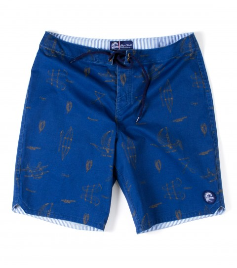 "Surf Jack O'Neill Good Life Boardshorts.  51% Cotton / 44% Poly / 4% Spandex printed boardshort. Classic Polynesian watercraft print. Heavy launder for a super soft hand. Back welt pocket with fin key and bottle opener. 20"" outseam. - $35.99"
