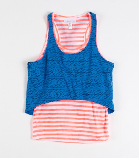 Surf O'Neill Girls Mandy Tank.  100% Cotton.  Yarn dye stripe printed; double layered style tank; fly away back detail; slightly saddled; woven flag label. - $36.00