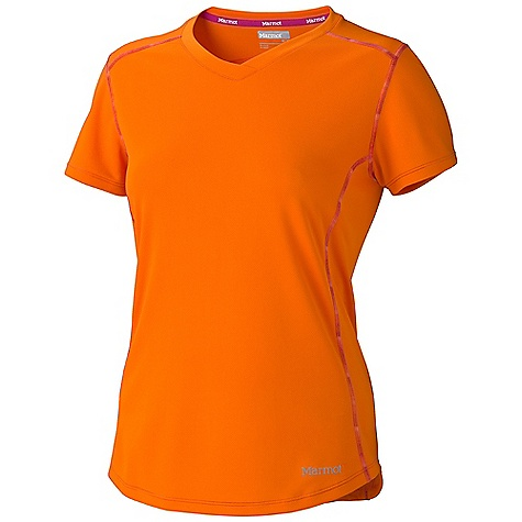 Entertainment Marmot Women's Kate SS Top DECENT FEATURES of the Marmot Women's Kate SS Top Lightweight, Breathable, Quick-Drying PerformanceKnit Fabric Ultraviolet Protection Factor (UPF) 50 Contrast Space Dye Flat-Locked Seams Forward Shoulder Seam Tag-Free Neckline V-Neck Styling Reflective Logos The SPECS Weight: 0lbs 6oz (170.1g) Materials: 93% Polyester, 7% Elastane Jersey 4.3 oz/yd Fit: Semi-Fitted - $37.95