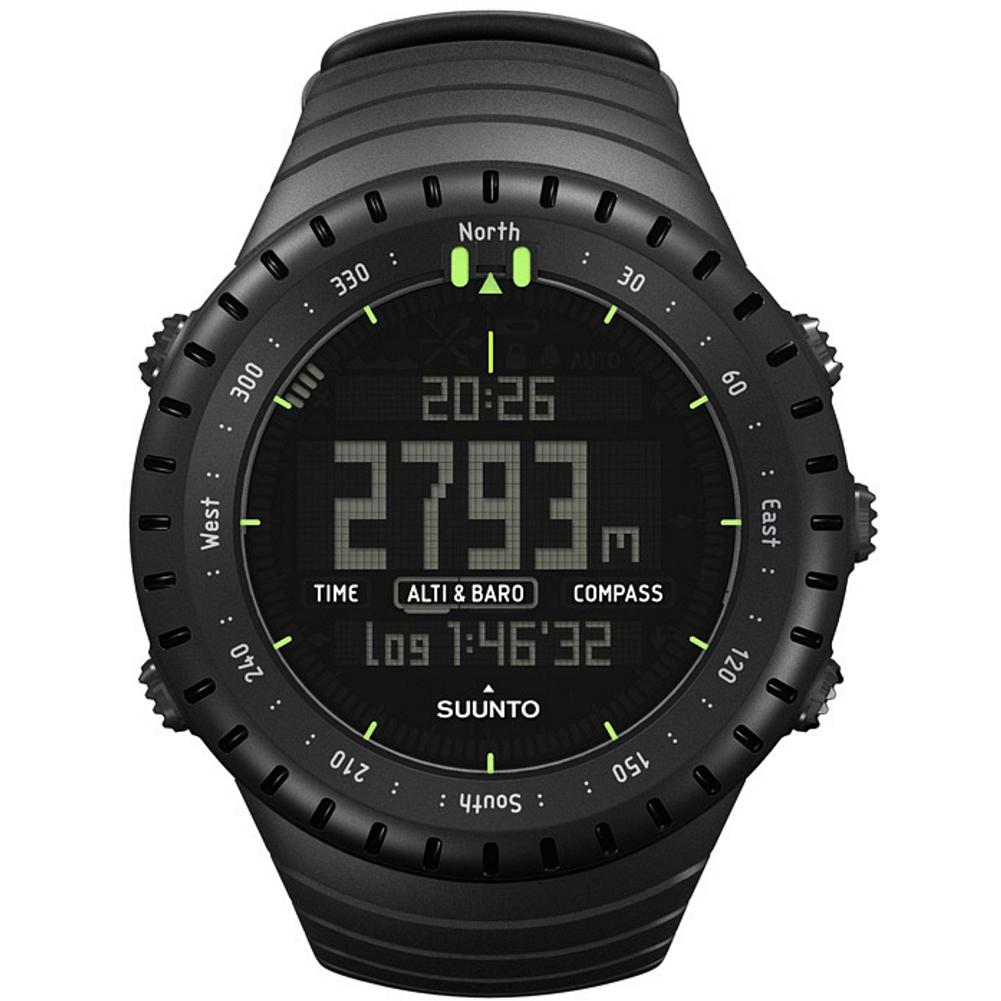 Suunto Core All-Black Watch - The ultimate watch for the outdoor enthusiast, the Sunnto Core is equipped with an altimeter, barometer, compass, depth meter, digital thermometer, and a storm alarm that can sense approaching inclement weather, even when the sky looks clear. Watch features include dual time, alarm functions, calendar clock, countdown timer, stopwatch and sunrise/sunset notification. The durable, lightweight plastic case is water-resistant to 32.8 feet (10 meters). Imported.. - $299.00