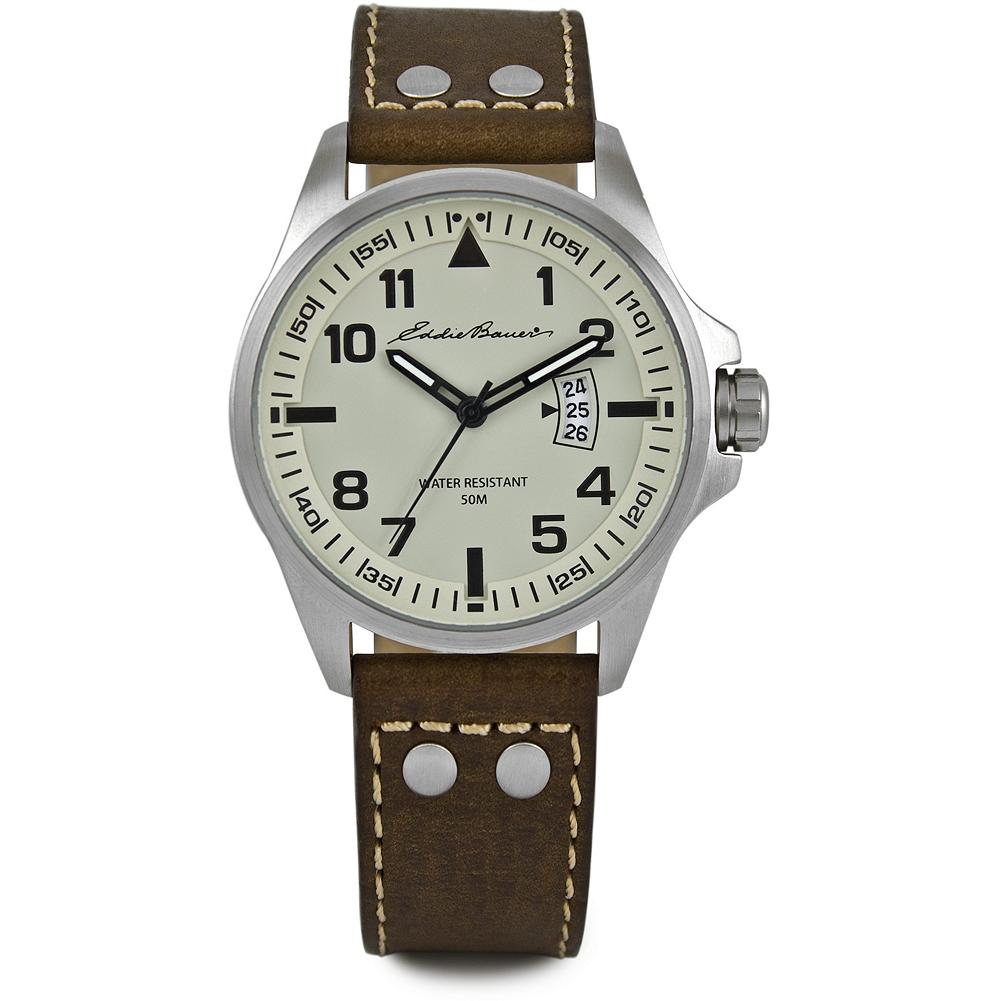 Eddie Bauer Military Watch - Make good time wherever you go with this military-inspired watch. Cream-colored dial with nickel-free stainless steel case, date function, precision Japanese quartz movement, scratch-resistant mineral crystal and genuine leather strap. Water-resistant to 50 meters. Imported. - $119.00