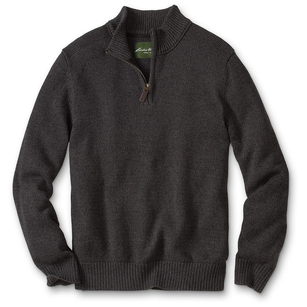 Eddie Bauer Classic Fit Cotton Marl Quarter-Zip Sweater - We took a comfortable cotton classic and amped up the texture. Twisted marled yarn gives this easygoing essential distinct heathered dimension, while contrast knit shoulder patches add a touch of homespun yet sporty style. A quarter-zip placket adds breathability, or lets you layer t-shirts and button-downs for an extra pop of color or pattern. Imported.. - $49.95