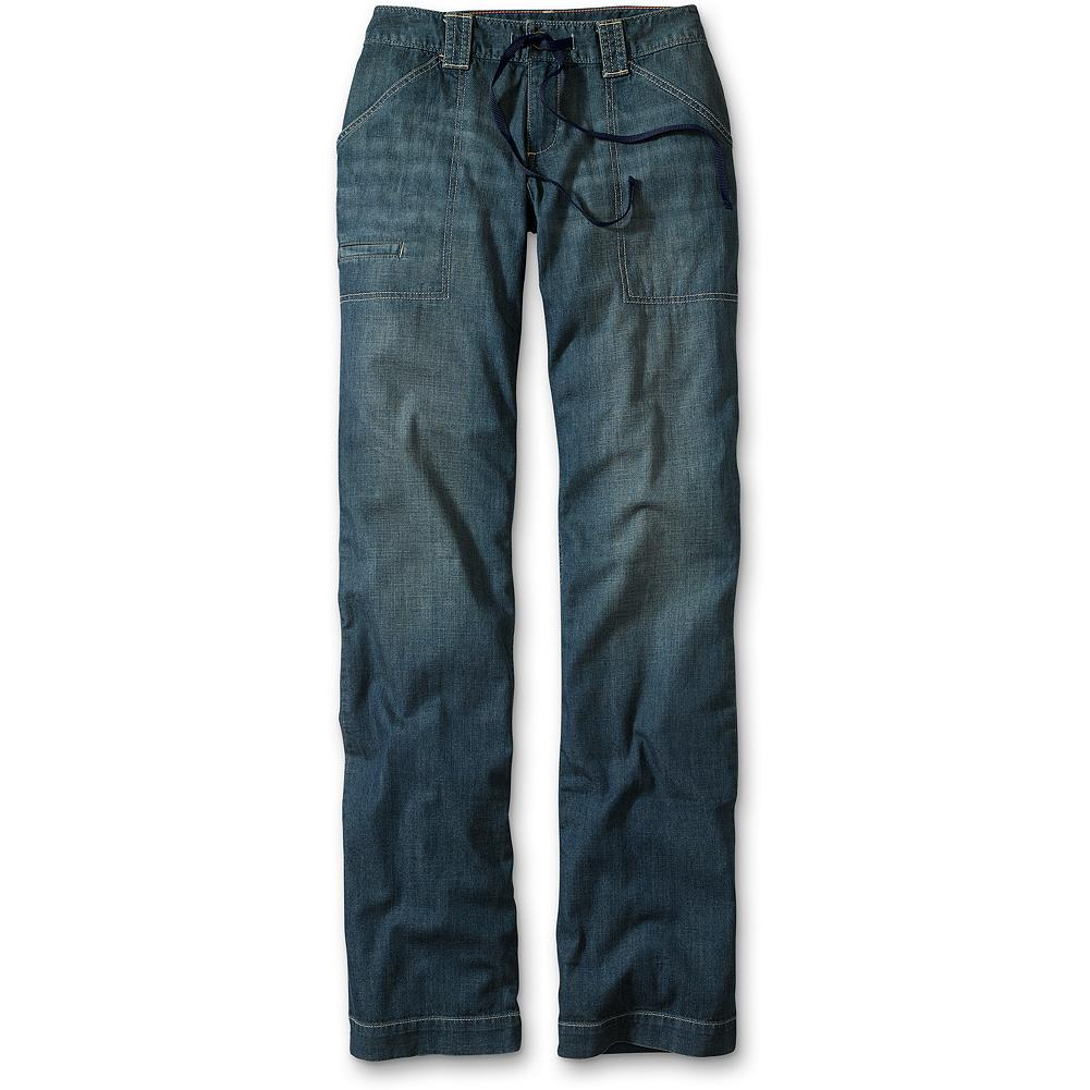 "Eddie Bauer Lightweight Relaxed Denim Pants - Discontinued - Utility styling, taken directly from our archives, in an amazingly lightweight denim ready to take on the heat. Easy fitting, with a low rise, drawcord waist and a casual trouser leg. Offered in two naturally worn washes. Modern fit. Inseam: 32"". Imported. - $14.99"