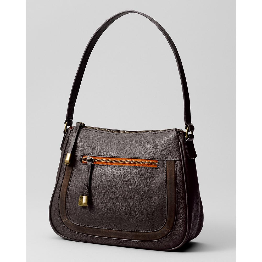 Eddie Bauer Leather Demi Bag - Compact and classy with a main compartment and exterior zip pocket accented with color trim. - $59.99