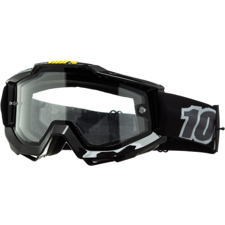 MTB The 100% Accuri Enduro Goggles share the same standard features as the Accuri model, only they come equipped with a dual-pane lens for the ultimate in protection and anti-fogging properties. And if you're unfamiliar with 100%, it's a long time player in the motocross world. And recently, 100% has been applying its extensive expertise in goggle technology to mountain biking. Proven on the dirt track, the 100% Accuri Enduro googles are ready for the world of big mountain shuttles, bike parks, and downhill racing. Between you and the goggles' anatomic frame is a moisture-wicking, triple-layer foam that provides an unobtrusive, snug fit. For the frame, 100% constructed it from a flexible, yet durable urethane. And while its shape is curved in order to conform to the face, it's also optimized to provide an excellent field of vision. Vision is taken seriously in motocross for obvious reasons, and the advantages from years of experience translates into distinct advantages for 100% in the mountain biking marketplace. For example, there are over twenty aftermarket lenses available for every light condition imaginable -- from Clear to Rose. Even better, the easy of replacing lenses extends throughout 100%'s line of goggles, keeping cost down and ensuring that replacement parts are plentiful. And best of all, 100% has a full line of vision-enhancing, tear-off and roll-off accessories. This means that all 100% goggles are ready for muddy race courses and sloppy days riding lifts. The 100% Accuri Enduro Goggles are available in the colors Black with a Clear lens. The goggles comes equipped with a dual-pane, anti-fog, and scratch-resistant Lexan lens. The strap is extra wide at 45mm, and it's coated with silicone to prevent slippage. - $59.95