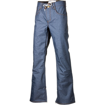 Snowboard The Remer Pant from Analog keeps your look stylish and raw with a denim cut and five-pocket design.  These snow slacks serve up slim-fit street style for the mountain, and the high-tech fabrics and inner thigh venting keep you feeling good so you can work on your trick style too. - $63.98