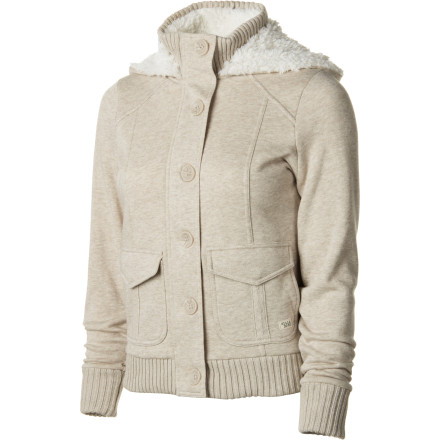 Surf Pull on the Billabong Women's Can You Jacket before you leave the house. This jacket features a Sherpa fleece lining, a ribbed collar, and cuffs for a casual about-town appearance. - $51.64