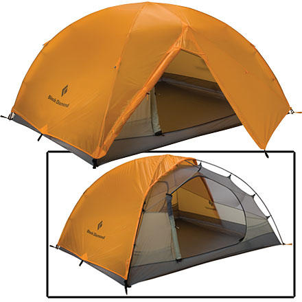 Camp and Hike The Black Diamond Vista 3-Person 3-Season Tent keeps you and your two partners comfortable and protected in camp and adds not even six pounds to your group gear tally. This double-wall tent pitches quickly thanks to pole clips, and a mesh top provides ventilation while keeping out the bugs. - $379.95