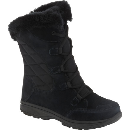 Step out into snowy weather with the Columbia Women's Ice Maiden Lace Boots. Quality waterproof leather and textile uppers, Omni-Shield repellency, cozy insulation, soft fleece linings, and faux fur collars keep you more than comfortable while you trek down snowy or slushy sidewalks. - $55.97