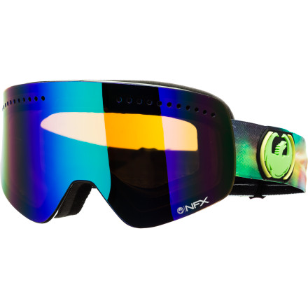 Ski Expand your view of the world next time you're shredding with the Dragon NFX Goggle. It features Dragon's frameless technology to offer a huge field of vision with plenty of peripheral view and an anti-fog treated lens so you can always see what's ahead on the mountain. - $159.95