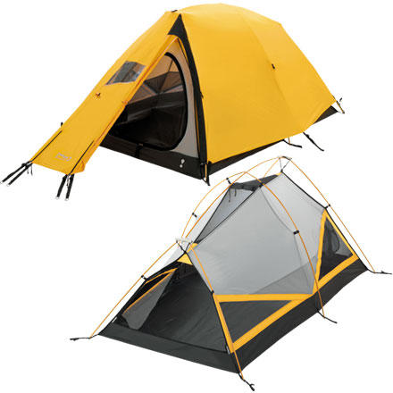 Camp and Hike Most four-season tents can get you through a winter storm, but many of them come with vertebrae-crushing poundage, and almost all of them come with a budget-busting price tag ... except the Eureka! Alpenlite 2-Person, 4-Season Tent. This versatile expedition shelter has the features, technology, and bomber construction to stand toe-to-toe with the big guns, but its relatively low weight and even more impressive price point make it a no-brainer for budget-minded go-getters. Two roof vents, four wall vents, and a vestibule vent means that it's versatile enough to consider using year round. - $339.90