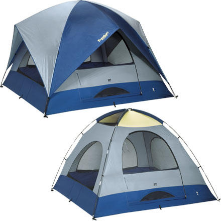 Camp and Hike When you take the whole family out for a camping trip, bring along the Eureka Sunrise 9 Tent for a comfortable sleeping shelter that won't make everyone roast in the heat. This three-season, five-person tent includes top and bottom door air vents, two mesh roof vents, and four large zippered windows to keep the air flowing and everybody comfortable. Eureka gave the Sunrise 9 a two-pole design for easy set-up. The fiberglass frame, clips, rings, and pines are super durable, so you can take trips season after season. Keep the whole crew's stuff organized with the hanging gear loft organizer, two built in water bottle holders, corner organizer, and wall organizer with mirror. - $199.92