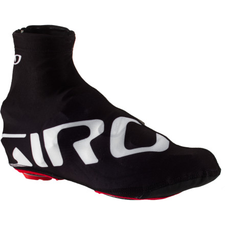 Fitness Protect your expensive Italian leather riding shoes from road grime while you reduce drag to gain valuable seconds on the leaders. The Giro Ultralight Shoe Covers do all this while adding stylish flair to your kit. Giro used premium Lycra for the cover's upper to present the wind with a smooth, aerodynamic profile. The locking, ergonomically offset zipper is reflective to make you more visible in evening traffic. Giro even gave the Ultralight Aero Shoe Covers a reinforced cleat zone for many seasons of aerodynamic superiority. The Giro Ultralight Aero Shoe Covers come in three sizes: S, M, and L, and is available in White or Black. - $27.96