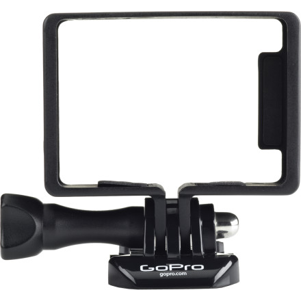 MTB You have the brand-spanking-new Hero3, and you need to secure this baby: introducing the Frame (HD HERO3 only) mount, the smallest, lightest way to nail down your camera for a consistent POV. With standard and BacPac frames, flat and curved mounts, and additional hardware, you have plenty of options for how and where to mount your history-capturing recorder. And it's engineered for optimal sound at speed, so you'll get not only top-quality image but huffing-puffing, wind-whipping sound. Sleek and light standard and BacPac frames allow low-profile, compact mounting Engineered for optimal sound at speed, so you can rip as fast as your heart desires Cap protects lens from elements or accidents Flat and curved adhesive mounts give options for attachment placement; assorted mounting hardware add security  Compatible with GoPro Hero3 only; also works with LCD Touch BacPac and second-generation Battery BacPac Disclaimer: frame mount is not waterproof and not optimized for use in conditions where dirt or other objects can damage camera lens - $39.99