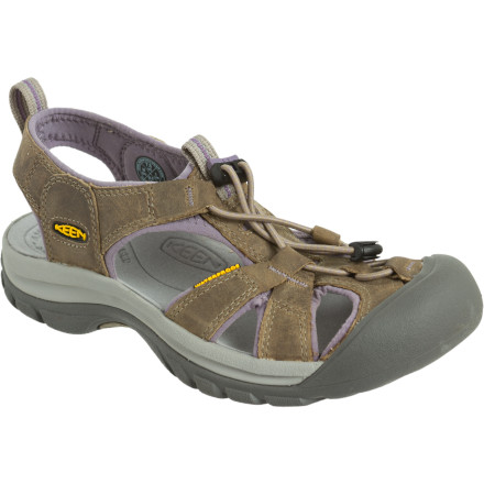 Camp and Hike KEEN Women's Venice Sandals provide the comfort and protection of a shoe while keeping your foot well ventilated on hot summer days. Though they're designed for casual wear, the Venice Sandals' waterproof leather uppers stay supple and don't crack as they dry after an impromptu dip in the lake. KEEN gave these super-comfy sandals an AEGIS microbe treatment to hold down the funk factor and ensure they smell fresh every day of the summer. - $94.95