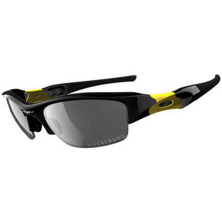 Camp and Hike There's an argument to be made for owning one set of all-purpose sunglasses -- one performance-oriented enough for race day, but fashionable enough for everyday usage -- and no set of Oakleys does this better than the Flak Jacket. The Flak Jacket retains all of the fantastic optical and fit attributes of the Radar, the M-Frame, and the Zero, but it does so in a design that doesn't look out of place outside of a sporting context. Flak Jackets are an especially great choice for cyclists because, like the Radar, their frame design doesn't inhibit your peripheral vision in the least. Their O-Matter polymer frame is all-but-weightless, and like all Oakleys they contact you only at the bridge of your nose and behind your temples. This retains the optics in perfect alignment and eliminates the discomfort you get from frames that hook around your ears and mount with unbalanced pressure points. The earstems are sheathed in Unobtanium to further ensure the comfort and security of the frame fit, an Oakley innovation that increases grip as your sweat. And O-Matter frames have amazing durability not only for the abuse of packing and unpacking them from your backpack, but for impact-resistance in case you crash. While the wrapped lens of the Flak Jacket optimizes peripheral vision and protection, such extreme contours can cause optical distortion (called refraction) due to the bending of light. Oakley utilizes XYZ Optics in the Flak Jacket to prevent refraction by achieving precise orientation between lens curvature and the human eye. This creates clarity at all angles of view, even along the periphery of the lens. The lens itself is made from Plutonite to provide you with superior comfort, clarity, and protection against impact and ultraviolet radiation. Plutonite blocks 100% of all UVA, UVB, UVC and harmful blue light. This special edition Flak Jacket commemorates the Livestrong fight against cancer. - $150.00