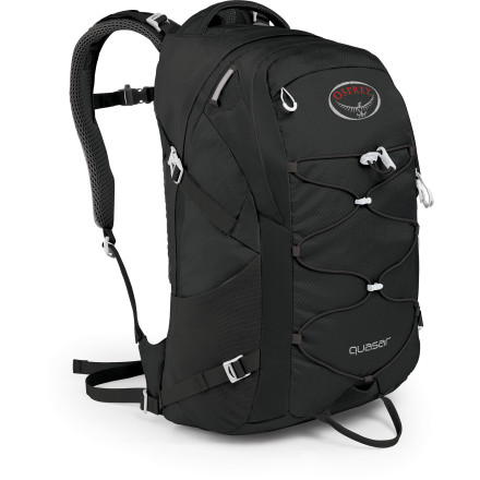 Camp and Hike With key features like a blinker light attachment and headphone routing port, the Quasar Pack brings Osprey's reputation for solid construction, fit, and function to your day hikes and urban commutes. Internal organization keeps your electronics away from your lunch and away from your workout clothes, while Spacer Mesh on the straps and an Airscape ridged back panel lifts the pack off your skin for better airflow. - $88.95