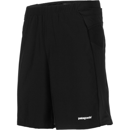 Fitness Whether you're pounding the pavement before work or running desert trails on the weekend, pull on the full-featured Patagonia Men's Nine Trails Short before heading out the door. The lightweight polyester fabric stretches for complete freedom of movement, the DWR finish keeps you dry, and mesh panels provide ample ventilation for hot days on the trail. - $59.00