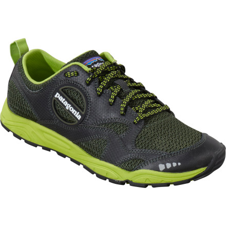 Fitness The Patagonia Men's Evermore Trail Running Shoe gives minimalist-minded trail runners the sensitive flexibility they need while providing enough cushion for long distance excursions. Breathable mesh uppers keep your feet ventilated on hot training days and the EVA forefoot rock plate provides protection on rocky, unforgiving terrain. - $76.93
