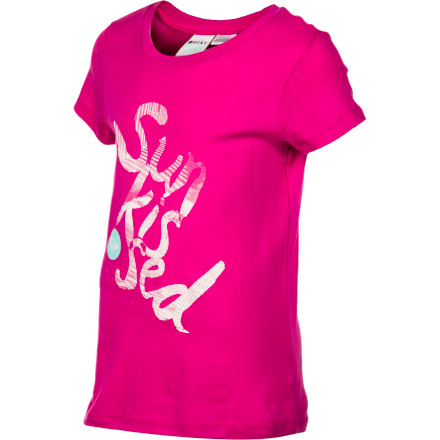 Surf After a long day at the beach, the Roxy Girls' Sun Kissed T-Shirt's soft cotton rib knit will feel soft and soothing against her almost-sunburned skin. And thanks to the cute graphic and baby tee style, she'll be one of the best-dressed among the sand- and salt-crusted crowd at the clam shack. - $11.70