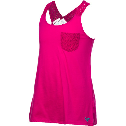 Surf A little frill goes a long way in the super-cute Roxy Girls' Spring Luster Tank Top. As fresh as the first bloom, with the pep of a poppy, this cool tank with crochet accents spreads the joy from park to playground. - $18.20