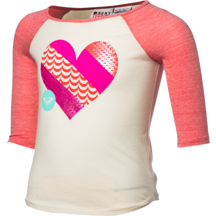 Surf Your little girl hits it out of the park when she wears the Roxy Girls' Live Love Shirt. The casual baseball-tee style and uplifting graphic make a winning combination. - $13.00