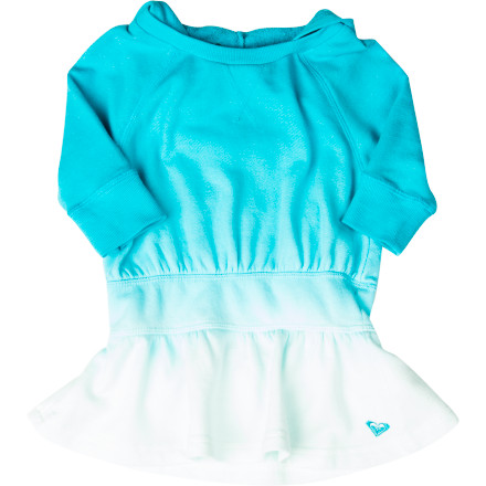Surf The Roxy Toddler Girls' Galoshes Dress brightens up any day with a splash of color, a cute-as-a-button skirted bottom, and the casual comfort of a hoodie. Your tiny dancer will love the freedom of three-quarter sleeves and the warmth of the hood on spring-day outings. And the fade-out skirt exudes the same surfer-sportiness of big-girl Roxy style. - $24.70