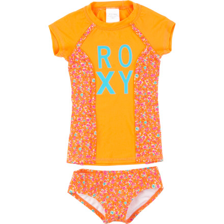 Surf The Roxy Toddler Girls' Sand Blossom Rashguard Set keeps your tiny mermaid covered so she can spend the day building (or smashing) sand castles and splashing in the waves. Plus, the fast-drying fabric means she won't soak through her car seat on the way home. - $43.20