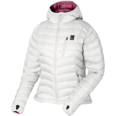 On the mountain, on the street, under a shell or as a stand-alone, the Sierra Designs Women's Gnar Hooded Down Jacket does it all. All YOU have to do is slide your arms into the convenient sleeve-holes, operate the handy zipper mechanism, and BLAMMO! Warmth. 800 fill goose down coddles you like a warm fire and a mug of spicy cider when the wind is whipping around outside, and the elasticized hem, hood, and cuffs (with thumbholes) lock out the cold as securely as a Nebraska farmer slams the storm cellar door with a tornado approaching. - $62.69