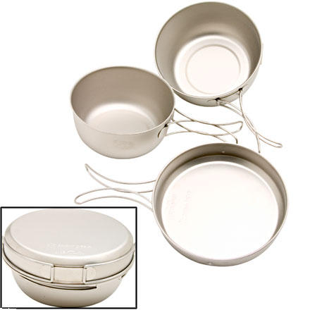 "Camp and Hike The Snow Peak Titanium Cookware 3-piece set is the minimalist's cookset. Ultra light is the name of the game with this 3-piece modular set. The Snow Peak Titanium Cookware nests neatly with other Snow Peak products for convenient storage and packing. It includes a large pot, small pot, and a frying pan. Total stowed dimensions are 5.5"" x 2.25"", and it weighs 7.1oz, making it perfect for fast n' light minimalists. A Snow Peak GigaPower stove fuel canister can be neatly stowed inside the smaller pot. Rounded edges actually make cleaning up a lot easier, as well. - $49.95"
