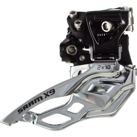 MTB The X9 2x10 High Clamp Front Derailleur may look like SRAM's X0 offering, but it uses steel in place of aluminum to keep its price point lower. Similarly, the cage is made of steel and is specifically designed to work in conjunction with SRAM's 2x10 cranksets and X-Glide chainrings. As such, it's designed to handle up to a 15-tooth differential between the big and little chainrings. Its cage is shorter and narrower than a triple-specific changer, which is great news for clearance issues between rear suspension and front derailleurs. The steel links that shape the swing arm of the derailleur cage have been widely spaced pivots for increased stiffness. This rigidity, inherent in the parallelogram, is part of what makes X9 front shifting so quick and efficient. The SRAM X0 2x10 High Clamp Front Derailleur is configured to work as either top or bottom pull and is available in 31.8, 34.9, and 38.2 clamp diameter options. - $46.36
