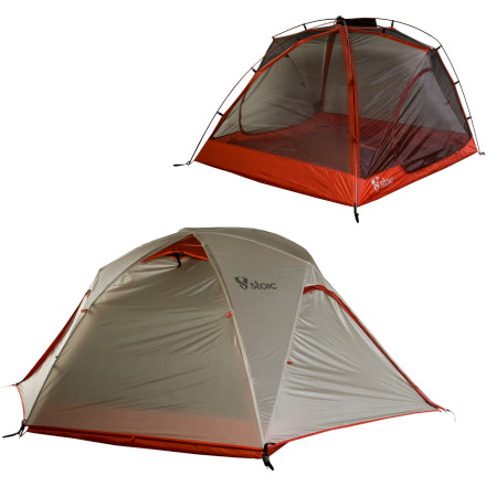 Camp and Hike The Stoic Arx XL 3 Tent gives you and a couple buddies a lightweight tent option with more space. Whether you're a couple traveling with a ton of gear, trail buddies who need room for a dog, or three people on a fast-and-light backpacking mission, this lightweight tent protects you from the elements and has ample room for everyone to slumber soundly inside. Dual vestibules and doors, mesh venting, and a quick-setup design mean that you'll spend less time worrying about base camp and more time living large in the outdoors. - $209.30