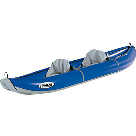 Kayak and Canoe The Tributary Tomcat Tandem Inflatable Kayak gives novice whitewater paddlers versatility and performance at an affordable price. The Tributary Tomcat Tandem is a durable entry-level kayak that will last for many seasons on the river. Grab your favorite paddling partner and head for the river, or sit in the boat solo and use the extra space to gear up for multi-day adventures. - $798.95