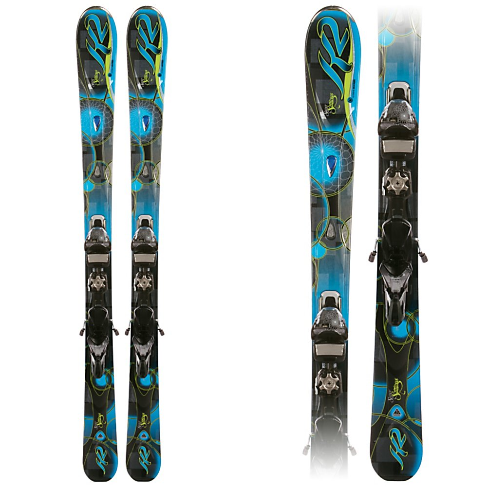 Ski K2 SuperStitious Womens Skis with Marker/K2 ERS 11.0 TC DEMO Bindings - The new SuperStitious from K2 is a tough womens ski for skiing the ungroomed snow with good hard pack capabilities. The All Terrain Rocker is tip rocker with camber underfoot. The tip rocker keeps the tips floating as you charge down the back bowls and absorbs the negative energy that is brought on from moguls and crud. Tip rocker, a progressive Sidecut, and Hybritech sidewalls helps the ski hook up and grab when it is time to lay down some carves when the bowls haven't had snow in a few days. The Bioflex 3 core with metal laminates are a good mix of power and rebound. The MOD Technology and MOD Monic dampening system are a suspension system that absorb vibrations and impact loads giving you better edge hold with more power and stability without affecting the flex of the ski. The new Marker/K2 ERS (Energy Response System) binding plate is lighter, lower, and wider, giving you more control and responsiveness from the binding to the ski. The new SuperStitious is a great ski for an expert woman or strong intermediate who likes to spend most of her time where the snow is soft and fluffy. . Tip/Waist/Tail Widths: 128/84/112mm (@ 160cm), Actual Turn Radius @ Specified Length: 14m (@ 160cm), Warranty: One Year, Type: All-Mountain Skis (75-90), Gender: Womens, What Binding is Included?: Marker/K2 ERS 11.0 TC DEMO, Construction Type: Cap/Sidewall, Core Material: Wood w/ Metal Laminate, Base Material: Sintered, Tail Profile: Flat, Special Features: All Terrain Rocker, Special Features: - $399.96