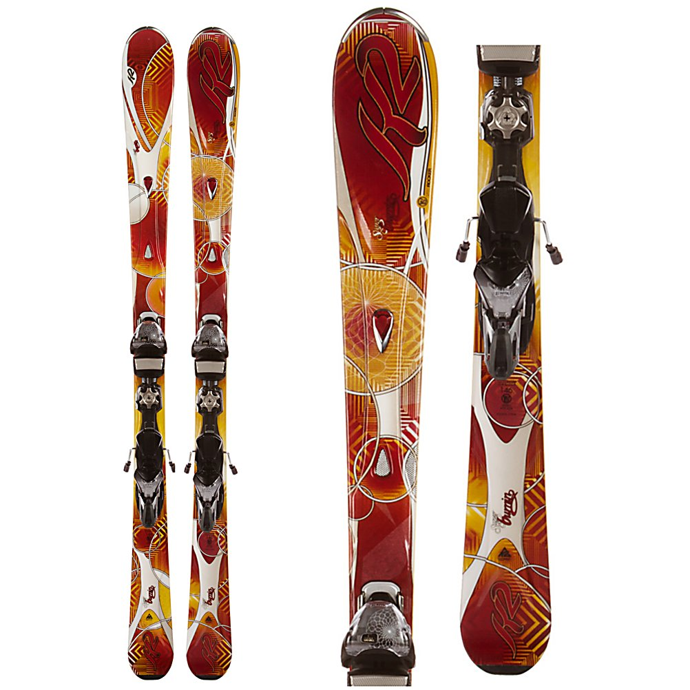 Ski K2 SuperBurnin Womens Skis with Marker/K2 Demo ERS 11.0 TC Bindings - The new K2 SuperBurnin Skis are a lightweight womens carving ski that all others are measured against. K2's Speed Rocker is designed for firm snow, with an elevated and longer tip it gives you effortless initiation and flawless transitions in between turns. Camber along the rest of the ski, and the Bioflex 3 core, with metal laminates provides you with power, and rebound as you rocket down a fast, steep groomer. The MOD technology, and MOD Monic dampening system make sure your ride is smooth and stable without any chatter. Hybritech Sidewalls are a vertical sidewall along the majority of the ski, except for the tip and tail increase your control, and have unmatched edge grip on ice and firm snow. Perfect for the Midwest or Back East. The new K2/Marker ERS (Energy Response System) is a full pound lighter, with smaller integrated hubs, that are closer together to accommodate a smaller boot sole and keep the flex of the ski consistent. The SuperBurnin is a great ski for any advanced women that will spend most of her time flying down groomers leaving everyone behind her. . Warranty: One Year, Skill Range: Advanced Intermediate - Expert, Product ID: 306204, Shipping Restriction: This item is not available for shipment outside of the United States., Model Year: 2012, Ski Gear Intended Use: All Mountain, Waist Width: 70-75mm, Turn Radius: 11-15, Titanium: Yes, Used: No, Alpine Touring: No, Twin Tip: No, Race: No, Binding Weight Range: 100-200 lbs., Rocker: Tip Rocker/Camber, Binding - $349.95