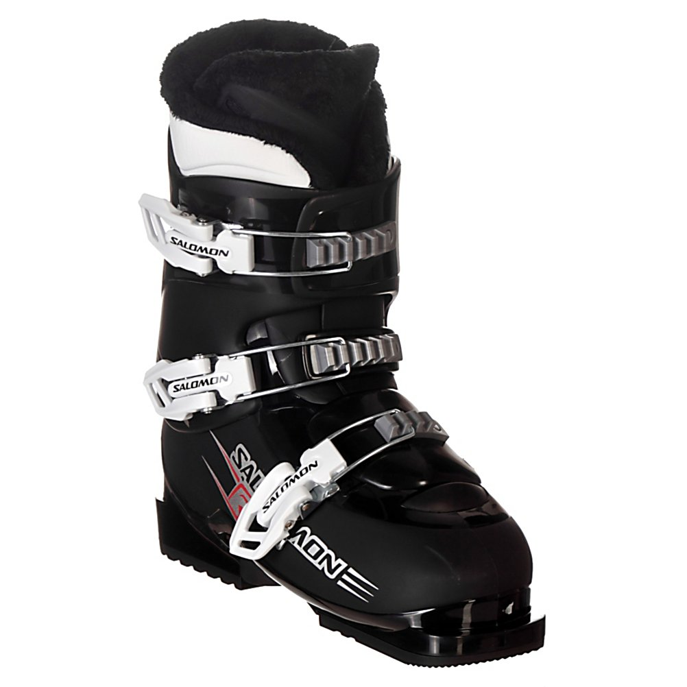 Ski Salomon T3 Kids Ski Boots - Just for kids, the Salomon T3 ski boots provide a soft and consistent flex which is perfect for helping them master the basics on the slopes. Salomon uses a wider junior last to make the T3 comfort oriented to keep on snow complaints to a minimum. The liner is a Thermicfit liner which molds to your child's foot using their body heat. For additional warmth, Salomon uses a plush Micro Fur on the inside of the liner which also makes it easier to slide on and off. . Lining Material: Thermicfit, Actual Flex: 30, Cuff Alignment: None, Warranty: One Year, Gender: Kids, Special Features: Easy Entry Design, Type of Boot: Recreational, Width: Junior, Shell Material: Polyurethane and Polypropylene, Buckle Count/Type/Material: 3/Vario/Plastic, Features: Micro Fur Lining, Special Features: Micro Fur Lining, Flex: Soft, Race: No, Used: No, Ski/Walk: No, Prewired For Heat: No, Number of Micro Buckles: None, Freestyle: No, Sidecountry: No, Forefoot Width: n/a, Flex Adjustment: No, Buckle Count: 3, Buckle Material: Plastic, Category: Downhill, Skill Range: Beginner - Advanced Intermediate, Model Year: 2011, Product ID: 201294 - $59.95