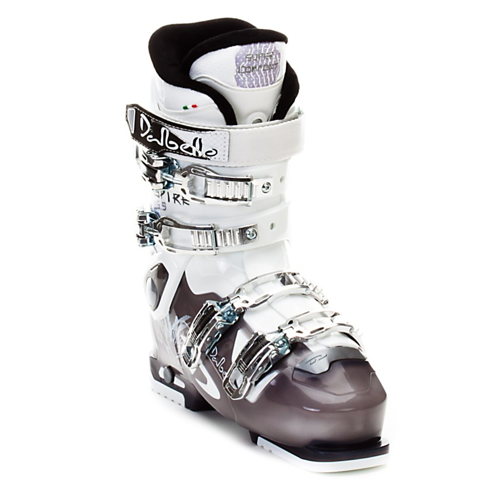 Ski Dalbello Aspire 6.9 Womens Ski Boots - The Aspire 6.9 is recreational comfort and warmth with the advantage some pretty cool gadgets. With a 105mm fit the Aspire 6.9 is a generous fitting and comfort oriented boot for the casual to athletic beginner skier as well as a wonderful choice for intermediate junior and teen skiers who no longer fit well into junior boots. Like it's little sister the Aspire 6.9 uses the Super Comfort liner and bi-injected technology for a supportive foot wrap that remains rather soft and cushioned. Where is differs is in the fit features and stiffness. At a 65 flex the Aspire 6.9 is a suitable boot for athletic beginners as well as infrequent intermediate skiers. For additional support the Aspire 6.9 has two microadjustable buckles, one at the lower cuff and instep, for fine tuning of the fit and better ankle retention, as well as X-module cuff volume expansion to better fit different leg shapes. The Aspire 6.9 is also equipped with a simple and effective ski/walk mechanism, so at the flip of a switch walking to and from the hill/bar instantly become easier. It is the addition of this extra stiffness and ski/walk feature that really make the Aspire 6.9 a fantastic value and a wonderful choice to make your first experience skiing a pleasant one. Features: 4 Aluminum Buckles, 2 Microadjustable Buckles, Lower Cuff and Instep. Lining Material: Super Comfort Liner, Actual Flex: 65, Cuff Alignment: None, Warranty: One Year, Gender: Womens, Special Features: Easy Entry Overlap, Type of Boot: Rec - $174.97