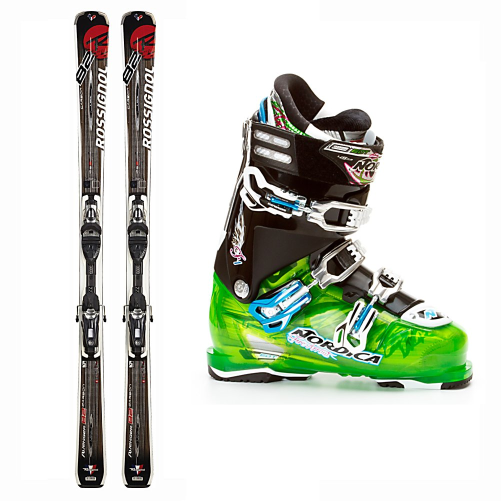Ski Rossignol Avenger 82 Ski Package - The Rossignol Avenger 82 Basalt Ski Package is all about value and performance. The Rossignol Avenger 82 Basalt Skis boasts 82mm underfoot so you have plenty of waist width for blasting through the crud and broken snow and some float for light powder without being too slow edge to edge. Rossi's wood core, basalt laminate, and sandwich sidewall construction give the 82 Basalt torsional rigidity. Full sidewalls give you enough edge grip to hold a solid edge on the ice without being too demanding. The Nordica FireArrow F1 Boots offer a 45 degree closure for maximum amount of heel retention and forefoot comfort so your foot can be secure inside these boots. Micro Buckles on all buckles ensures the most customized and comfortable fit. The Progressive Flex dominates this boot with its ease while in a neutral position but increasing in stiffness when you flex deeper into turns those sharp turns. High performance for the aggressive frontside skier that spends most of their time on the hard pack, the Rossignol Avenger 82 Basalt Ski Package offers uncompromising quality for the advanced skier. . Skill Range: Advanced Intermediate - Expert, Model Year: 2012, Product ID: 306676, Ski Gear Intended Use: All Mountain, Ski Boots:: Nordica FireArrow F1 Ski Boots, Ski Bindings:: Rossignol TPX Axium 120 Bindings, Waist Width: 76-85mm, Turn Radius: 16-20, Flex: Very Stiff, Binding Weight Range: 120-220 lbs., Skis:: Rossignol Avenger 82 Basalt Skis with TPX Axium 120 Bindings, Rocker: Camber, Max - $849.99
